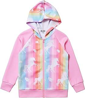 Unicorn Jacket Girls Zip Up Hoodie Sweatshirt Halloween Costume Pink Size 8 9