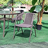 Warmiehomy 6Pcs Garden Dining Chair Set Outdoor Patio Backyard Sunloungers with Durable Aluminum Structure and Cool Plastic Rope for Garden,Terrace