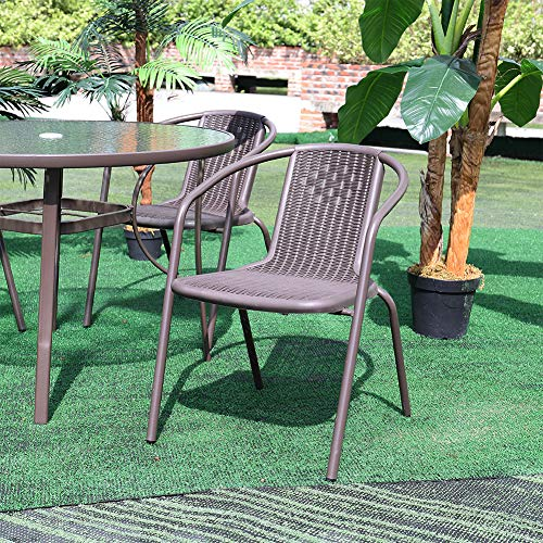 Warmiehomy 4Pcs Garden Dining Chair Set Outdoor Patio Backyard Sunloungers with Durable Aluminum Structure and Cool Plastic Rope for Garden,Terrace