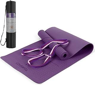 Tomshoo Gymnastikmatta, halkfri hudvänlig yogamatta med bärrem, ftalatfri träningsmatta med orienteringslinjer för yoga, f...