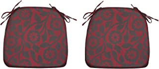 FBTS Prime Indoor Outdoor Chair Cushions (Set of 2) 16x17 Inch Chair Pads Red Flower Square Patio Seat Cushions for Patio ...