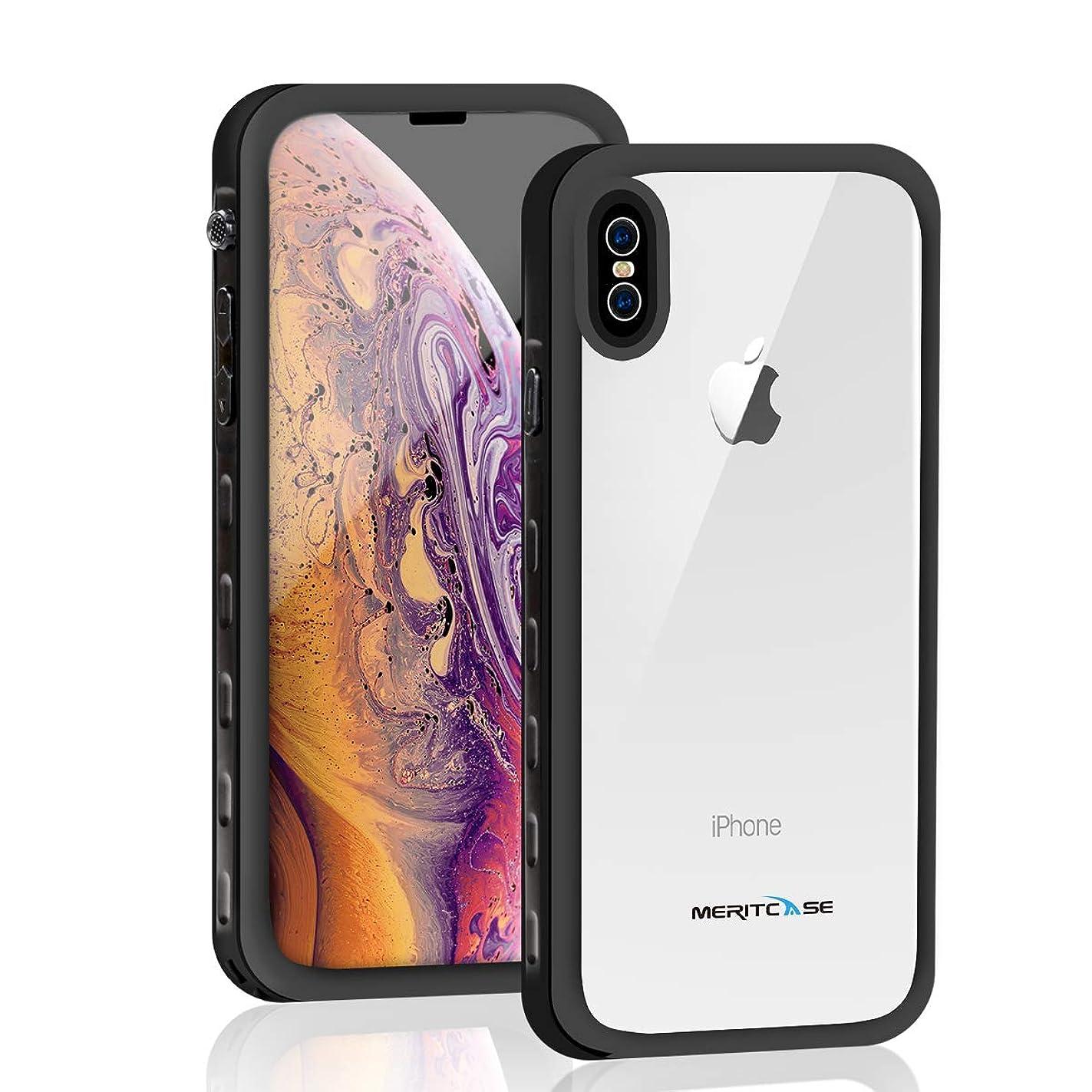 現代厚いリングレットMerit iPhone XS MAX ケース 防水ケース 水下10M 完全防水 IP68米軍MIL規格 無線充電 防塵 耐衝撃 360°全方向保護 塵?キズ·落下防止 高耐久ケース 風呂 雨 プール 海 フェイスID認証?Qi充電対応 XS MAX ケース リング付き アウトドア (X-Max-6.5-A)