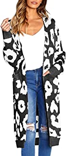 Loosebee??? Women Long Sleeve Open Front Leopard Knit Long Cardigan Print Knitted Sweater Coat Outwear with Pockets