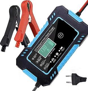 Bilbatteriladdare Automatisk Smart batteriladdare 12V Underhåll med LCD-skärm Pulsreparationsladdarpaket (blå)
