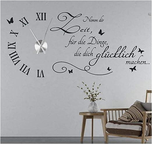 tjapalo® s-tku8 Wanduhr Wandtattoo Uhr Wohnzimmer Wandsticker Spruch - Nimm  dir Zeit für die Dinge die dich Glücklich machen mit Uhrwerk (Metall)