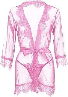 Women Sexy Lace Lingerie Robe, Ladies Plus Size Underwear Bathrobe Mesh Robe With Thong + Belt