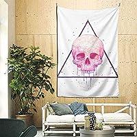 寝室の居間の寮の装飾のための頭蓋骨の装飾的な壁の毛布のタペストリー60X40インチの黒