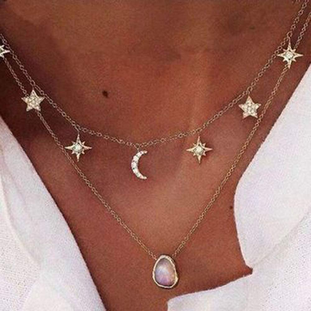 Crystal Pendant Chain Necklaces for Women Start Moon Pendant Choker Necklace Adjustable Layering Necklaces for Girl Gift