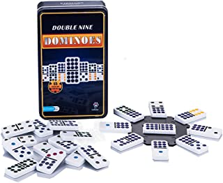 Doublefan Color Dominoes Games, Double 9 Color Dot Dominoes Set Domino Rally Table Games with Iron Box, 55 pcs