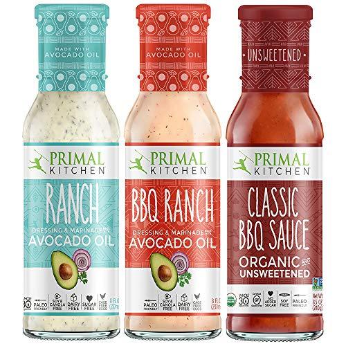 Primal Kitchen Master Ranch Dressing & BBQ Sauce 3 Pack - Avocado Oil Classic Ranch Dressing, Avocado Oil BBQ Ranch Dressing, and Classic BBQ Sauce