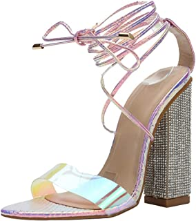 CAMSSOO Womens High Heel Sandal Open Toe Lace Up Chunky Block Heel Transparent Strip Sandals
