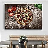 baodanla Pintura al óleo sin Marco Embelish Big I Love U Pizza Wall Art Pictures para la decoración de la Cocina Decoración para el hogar HD Canvas Ngs para Living Ro50x70cm