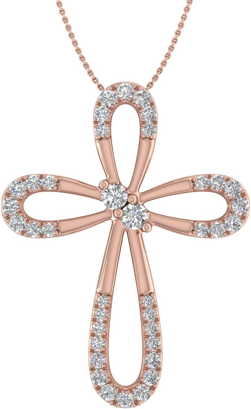 1 4 Carat Super sale period limited to 3 8 Max 82% OFF Necklace Cross Vintage in Pendant Diamond