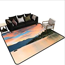 Indoor Floor mat,Romantic Sunset at Lake Tahoe Peaceful Shoreline Sierra Nevada United States 6'x9',Can be Used for Floor Decoration