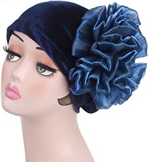 Fashian Lady Flower Velvet Muslim Turban Pleated Head Wrap Scarf Bandana Hat Pre Tied Headwear Cancer Chemo Cap WJ-43 (Color : 1, Size : One Size)