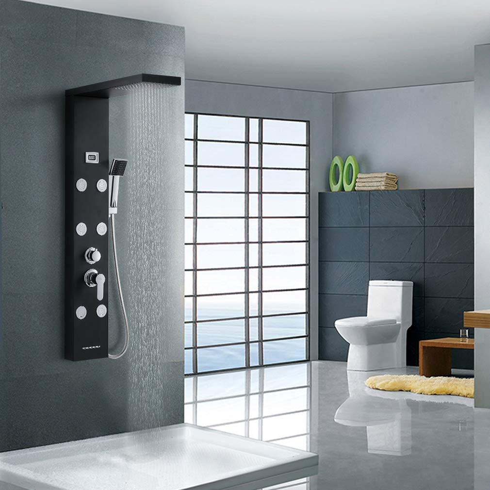 Auralum Panel de ducha de acero inoxidable con temperatura, grifo ...