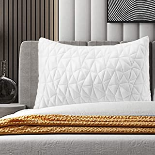 Avenco Shredded Memory Foam Pillow, Queen Pillows, Cooling Bed Pillows for Sleeping, Adjustable Side Sleeper Pillow with Breathable Zippered Covers, White, 1 Piece