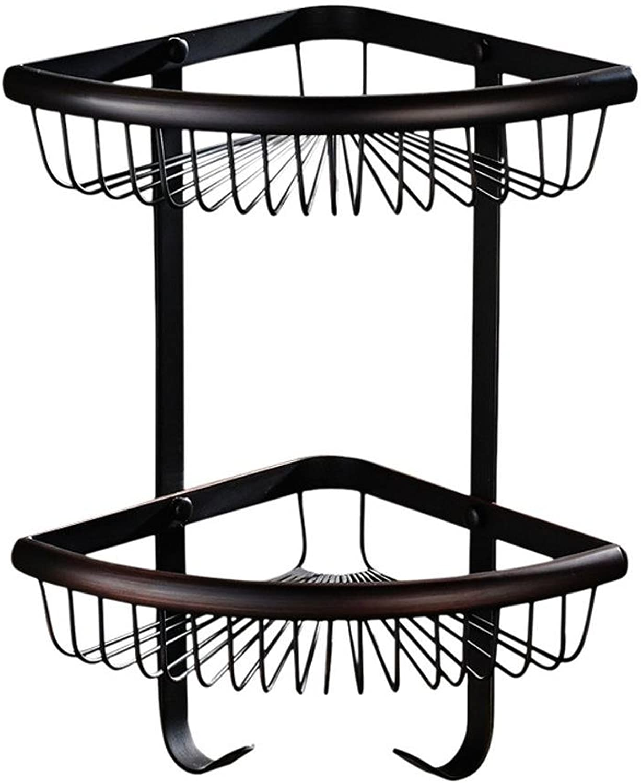 XAH@ European copper triangle antique black bronze two-tier bathroom rack