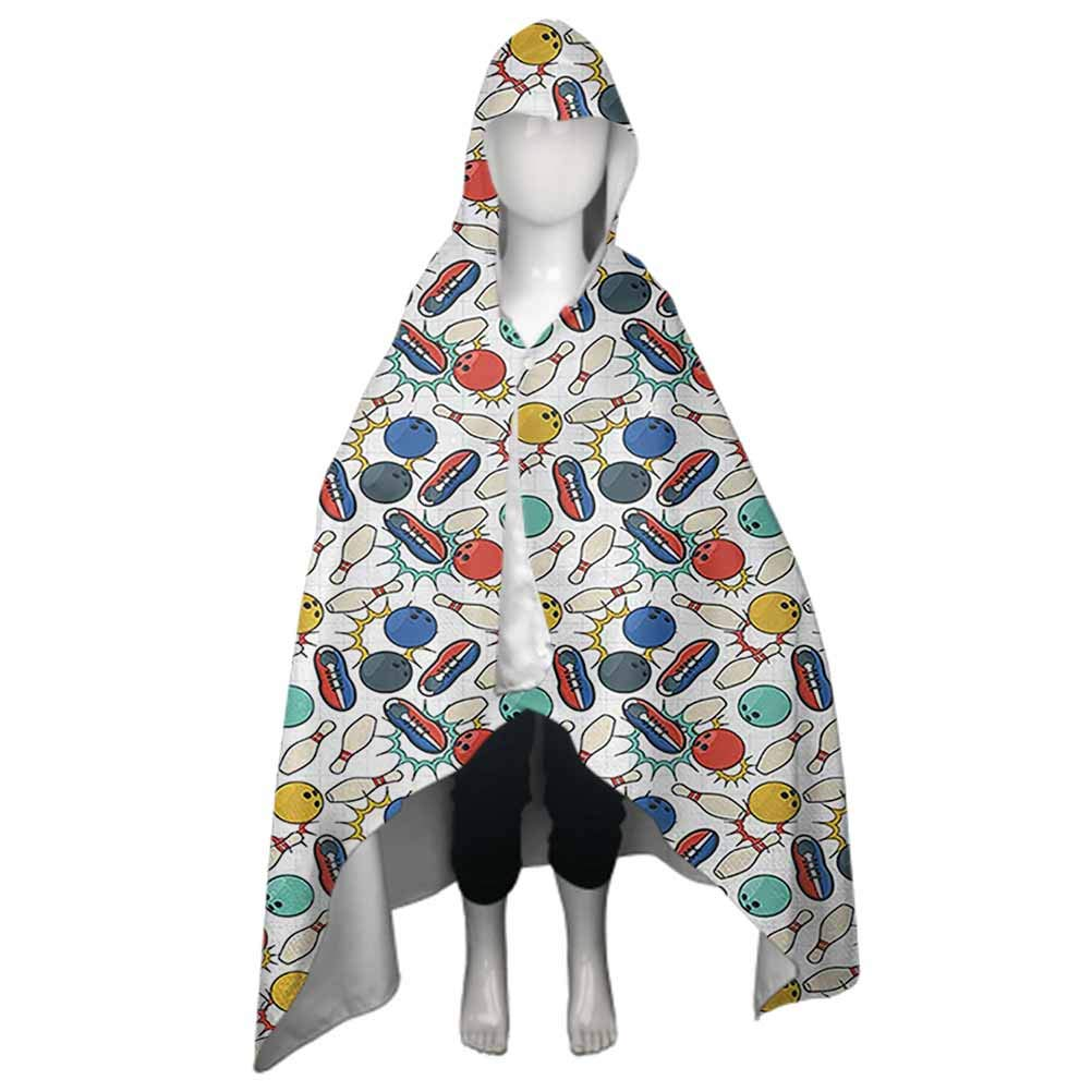 Kids Hooded Towel Bowling Hooded Poncho Towel for Kids Color Doodle Design on Notebook Sheet Backdrop Ball Pins and Shoes in Retro Style for Beach, Pool, Bath Multicolor 51x32 Inch