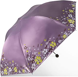 Umbrella Household Folding Umbrellas UV Protection Umbrellas Metal Umbrella Umbrellas Three Colors Available LJJOZ (Color : Purple)