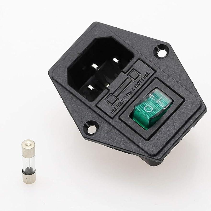 時間厳守チート誇張するHMSH 1セット10A 250Vインレットプラグインモジュールロッカースイッチ男性電源ソケット3ピンIEC320 C14スイッチ+ヒューズ新 (色 : 緑)