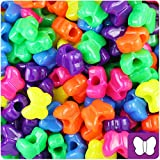 BeadTin Neon Bright Multi 13mm Butterfly Pony Beads (250pcs)