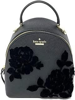 Kate Spade Black Cameron Street Backpack Handbag Flocked Roses