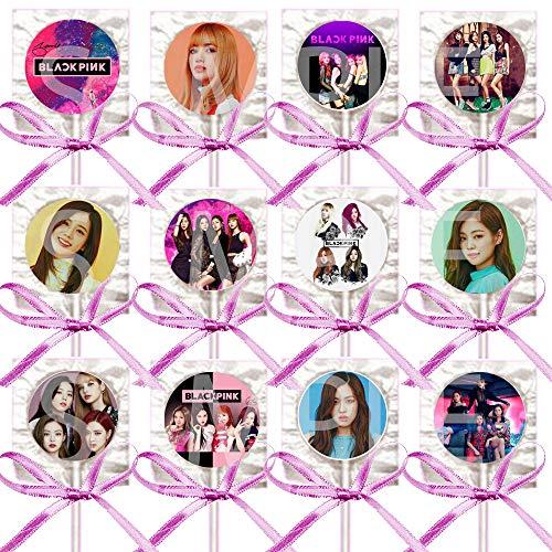 Black Pink Lollipops Party Favors Supplies Decorations w/K-Pop Suckers Pink Ribbon Bows Party Favors (12 pcs) South Korean Girl Band Jisoo Jennie Ros