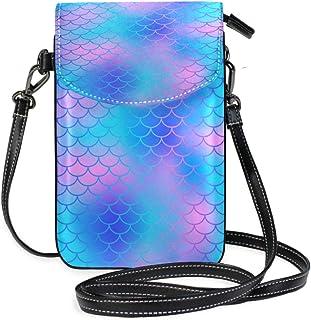 ZZKKO Meerjungfrau-Waage, bunt, Mini-Umhängetasche, Handtasche, Leder, für Damen, lässig, Reisen, Wandern, Camping