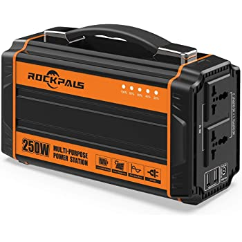 Rockpals 250-Watt Portable Generator Rechargeable Lithium Battery Pack Solar Generator with 110V AC Outlet, 12V Car, USB Output Off-grid Power Supply for CPAP Backup Camping Emergency