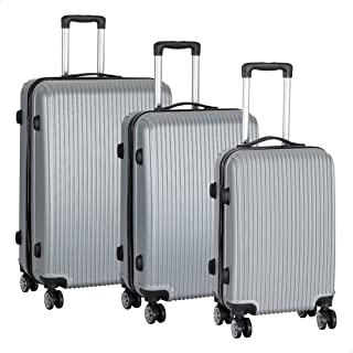 JB Luggage Trolley Travel Bags Set, 3 Pieces - Silver