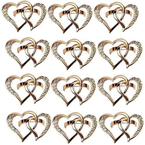 Casinlog - Servilletas con forma de corazón, 12 unidades, con hebilla de aleación de zinc, para boda, cena, mesa de mesa