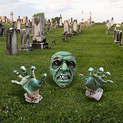 Halloween Decoracion Jardin, Zombie de Halloween Cara y Brazos Césped Estacas, Espeluznante Esqueleto Saliendo de la Tierra, para Decoración de Cementerio casa encantada
