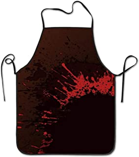 Girls Vintage Waist Bib Home Kitchen, 100% Polyester Soft Chef Aprons, No Pockets with Adjustable Thin Back Lacing for Cooking, Grill, Baking, BBQ, Classic Horror Blood Splatter Black Red