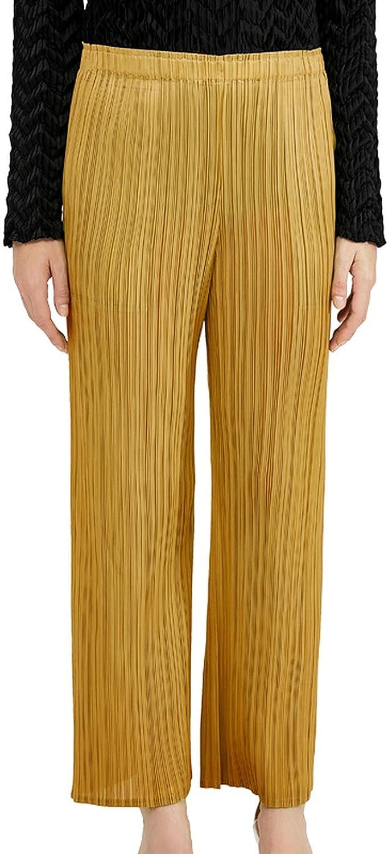 Lil Peep Summer Joggers Women Casual Pants Miyake Pleats Plus Size Gaucho Pants Stretch Trousers Straight High Waist Pants