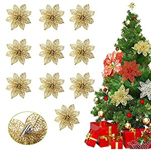 Poemyoued 6 Inch Christmas Glitter Poinsettia Flowers Ornaments Topiary, Pack of 10 Glitzy Gold Poinsettia Bushes for House Poinsettia Decorations, Artificial Flowers Christmas Tree(Gold)