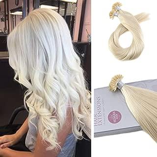 Moresoo 24 Inch U Tip Hair Extensions Human Hair Blonde Extensions Fusion Nail Human Hair Extensions Color #60 Platinum Blonde Tipped Hair Extensions Remy Hair 1G/1S 50G