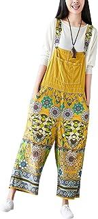 (のグレープフルーツ プラム) 花柄プリント デニムストラップドレス デニムオーバーオール レディース ゆったりワイドパンツ ゆったり オールインワン デニムサロペット 印刷されたワイドレッグパンツ