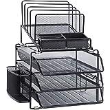 Lorell Black Mesh/Wire Desktop Organizer, 15.8' x 12.9' x 14.4'