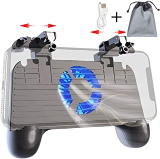 Mobile Controller with Power Bank Cooling Fan for PUBG, YONWIN L1R1 Game Trigger Joystick Gamepad Grip Remote for 4-6.5