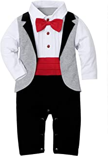 WESIDOM Baby Boy Suit Tuxedo Outfits Set,Toddler Gentlemen Rompers Formal Wear Jumpsuit Onesie(0-18 Months)