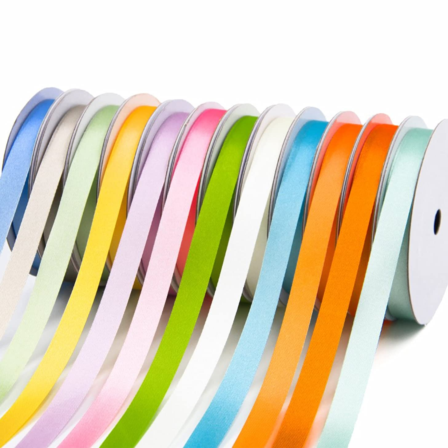3/8 inch Satin Ribbons Assorted Colors (Solid Light)