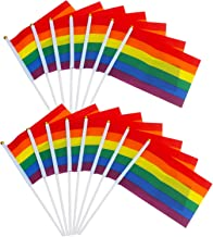 TRIXES 15 Rainbow Pride Hand Waving Stick Flags - Multicolour Mini Handheld Flags for LGBT Gay Pride Events - Colourful Festival Accessories - Small Rainbow Flags 21 x 14 cm on 30 cm Poles