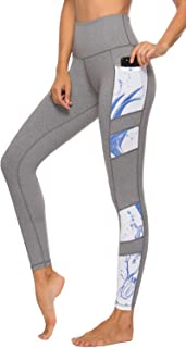 Persit Yoga Pants for Women with Pockets High Waisted Print Workout Leggings Athletic Gym Soft Yoga Leggings - Grey - XS