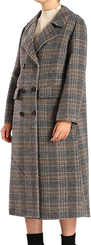 Helan Women's Handmade Wool Double Breasted Plaid Long Coat