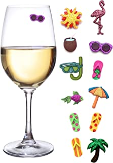 Summer Beach & Sea Nautical Magnetic Wine Glass Charms or Cocktail Markers for Making Your Drink Unique – Set of 12 Summer Charms