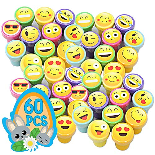 Totem World 60 Emoji Craft Stampers - Self-Inking Stamps - Perfect for Birthday Party Favors , Easter Eggs , and Stocking Stuffers