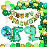 Yiomxhi Selva Dinosaurios Decoraciones CumpleañOs De Fiesta Infantil, Globos De CumpleañOs Dinosaurios, Guirnalda Feliz Bandera Hojas Palma Globos De Latex, NiñA NiñO CumpleañOs Multicolores(125PCS)