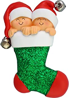 Personalized Couple Twins Babies' First Christmas Tree Ornament 2019 - Best Friends Siblings Glitter Stocking Santa Hat Bell Gender Neutral New Mom Grandkids - Free Customization