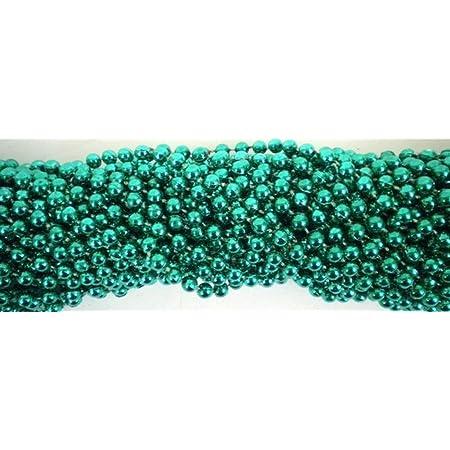 Inch 07mm Round Metallic 6 Color Mardi Gras Beads 72 Necklaces 6 Dozen